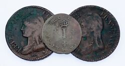 Lot Of 3 France Bronze Coins 1754 - 1799 Vf Condition