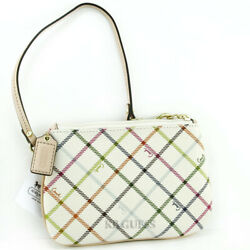 New COACH Women's Peyton Wristlet Bag Coin Purse Tattersall Multicolor NwT Bolso
