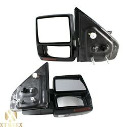 Left+right Side Power Heated Towing Mirror Assembly For 07-14 F150 W/memory