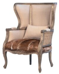 33 W Luce Occasional Chair Woven Rattan Detail Cowhide Leather Carved Wood