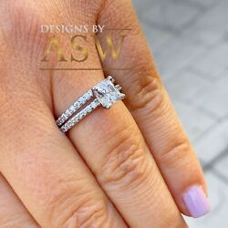 1.75ct Carat 14k Solid White Gold Princess Cut Diamond Engagement Ring And Band