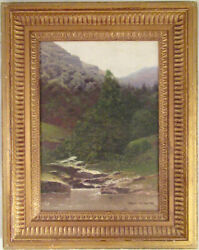 Henry Pember Smith Signed Oil Painting Of Catskill Mountain Waterfall