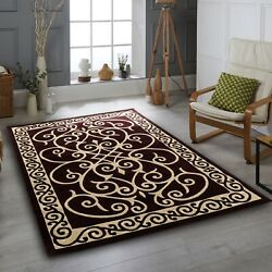 Area Rug Nwprt 63 Traditional Gold Burgundy Soft Pile Sizes 2x3 4x5 5x7 8x11