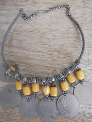 Vintage Middle East Silver Necklace W/arabic Coin And Yellow Amber