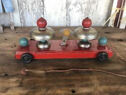 Antique Pull Toy Tin Metal And Wood Red With Bells Noise Maker Early 1900's