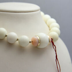 D764 Gorgeous 14k Yellow Gold White Jade And Angel Skin Coral Set