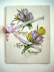 Gorgeous Vintage Taber Prang Art Co. Booklet Titled Springs First Message