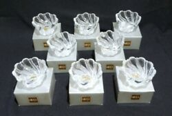 8 Vtg Peppermint Frost Mikasa Crystal Candleholders/ Trinket Dish / Candy Dish
