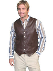 Scully Leather Menand039s Lambskin Or Suede Snap Vest 507