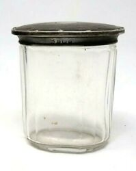 Early Antique Brass Lid In Figure Silver Plated General Storage Glass Jar