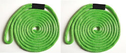 Solid Braid Nylon Dock Line 3/8 X 15and039 Floats Uv Usa Made - Lime Green 2-pack