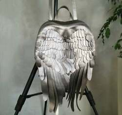 Designer silver Leather Backpack Leather Wings Unique Wings Bag chic stylish bag