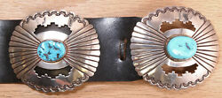Begay Navajo Sterling Silver Turquoise Concho Belt Dgdd Cx685a