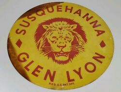 Vintage Susquehanna Glen Lyon Anthracite Coal Luzerne Pa Metal Sign Stained Edge