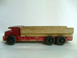 Vintage/antique Toy Truck Pull Toy Wooden Red Black Wheels Some Damage 11 X 3.5