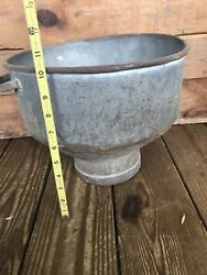 Antique Farm Milk Jug Can Dairy Metal Lid Cone Strainer Cream