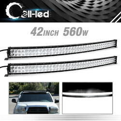 2x 42inch 560w Curved Led Light Bar Combo Offroad For 4x4 Jeep Suv Driving 4d