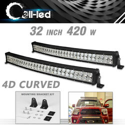2x 32inch 420w Curved Led Light Bar Spot Flood Combo Offroad Truck 4x4wd Suv Atv