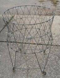 Vintage Wire Laundry Basket Collapsible Rolls