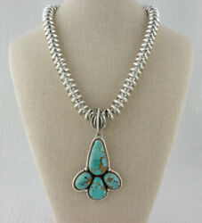 Sterling Silver Bead Necklace With Natural Royston Turquoise Pendant