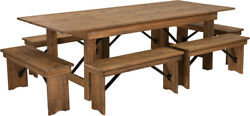 8' X 40'' Rectangular Antique Rustic Folding Farm Table With 6 Benches Set