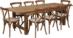 8' X 40'' Antique Rustic Folding Farm Table Set W/8 Cross Back Chairs And Cushions