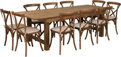 8' X 40'' Antique Rustic Folding Farm Table Set 10 Cross Back Chairs And Cushions