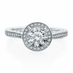 1/4 Ct Natural Diamond Semi-mount Engagement Halo Ring In 14k White Gold