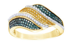 0.50 Cttw Natural Diamond Crossover Band Ring 10k Yellow Gold