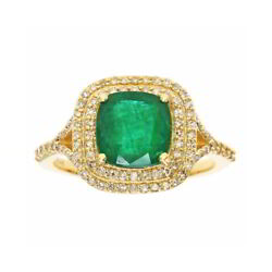 May Birthstone Emerald And Diamond Ring In 14k Yellow Gold