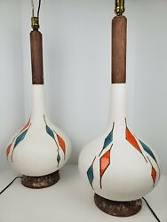 2 Mid Century Modern Ceramic Tile Diamond Inlay Large Hand Crafted Table Lamps