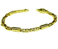 18kt Solid Yellow Gold Handmade Fashion Link Menand039s Bracelet 9.5 5 Mm 25 Grams