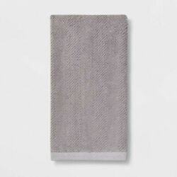 Threshold Textured Herringbone Seagull Gray Guest Hand Towel Cotton Terry Bath