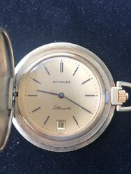 Wittnauer Geneve Silhouette Gold Toned Pocket Watch Wind Up - Works