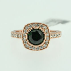 Sterling Silver 925 Ladys Engagement Ring Cocktail Band Emerald 14k Rose Gold