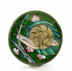 1930's Japanese Wireless Moriage Relief Cloisonne Enamel Shippo Box Snail Insect