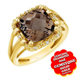 9.6 Ct Cushion Smoky Topaz And Real Diamond 14k Yellow Gold Rope Engagement Ring