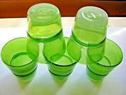 5 Vintage Green Glasses Tumblers With Tiny Bubbles And Stripe Around The Middle