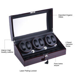 3 Motors Automatic Rotation 67 Watch Winder Storage Case Display Box US