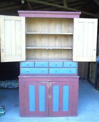 Antique Early 19th Century Paneled Door Country Stepback Spice Cupboard