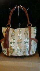 NWT Sharif Cognac Flower Embroidered Tapestry Leather Tote w Keychain
