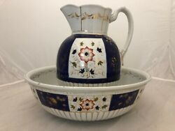 Antique Large Wash Basin And Pitcher Gaudy English