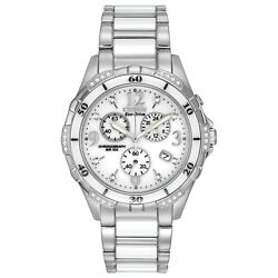 Citizen Womenand039s Chronograph Diamond Accent Ceramic Band 40mm Watch Fb1230-50a