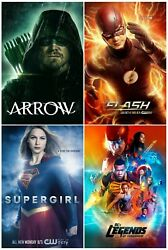 The Flash / Arrow / Supergirl / Legends Of Tomorrow Dc Posters   Set Of 4   New