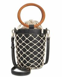 NEW NWT INC I.N.C. International Concepts Fisherman Mini Bucket Bag Black Tan $48.95