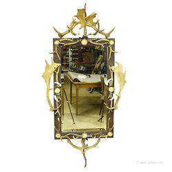 Large Antique Mirror With Rustic Antler Decorations