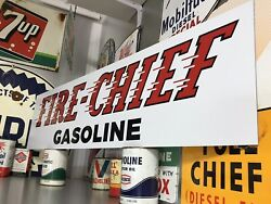 Antique Vintage Old Style Texaco Fire Chief Gasoline Sign