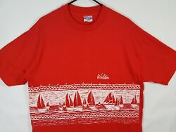 Vtg 80s Walden Surfboards Thoreau Pond Red T-Shirt Surf Sz L XL Hanes Beefy USA  $29.95