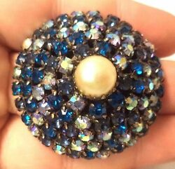 Antique Vintage High End LG Domed Blue Rhinestone Pearl Brooch Pin Estate