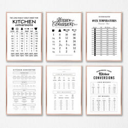 Kitchen Conversion Guide Poster Prints Kitchen Wall Art Decor Canvas Painting